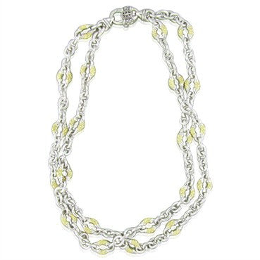image of Scott Kay Sterling Silver 18K Gold Chain Link Two Strand Necklace