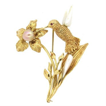 image of Ruser Pearl Ruby and 14k Gold Hummingbird Brooch Pin
