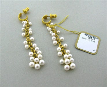 image of New Gurhan Bacchus 24k Gold Pearl Drop Earrings