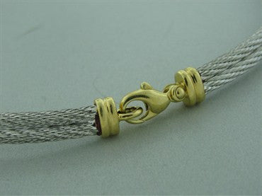 image of Estate Fred Of Paris Force 10 Steel Cable 18k Necklace Gold