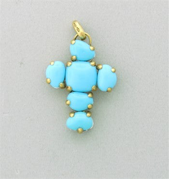 thumbnail image of New Pomellato Capri 18k Gold Turquoise Quartz Cross Pendant