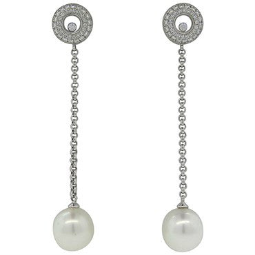 thumbnail image of New Chopard Floating Diamond Gold Pearl Long Drop Earrings