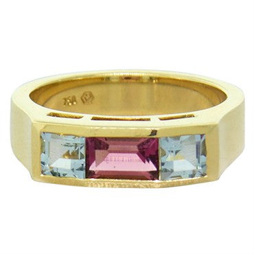 image of New Victor Mayer Faberge Maker 18k Gold Aquamarine Tourmaline Ring