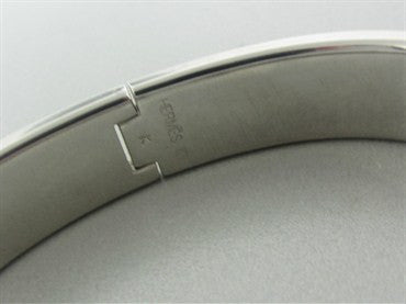 image of Hermes Silver Tone Metal White Enamel Signature Bangle Bracelet 65mm