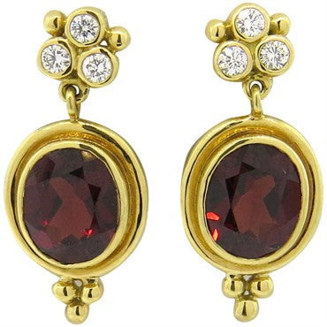 thumbnail image of New Temple St. Clair Madeira Citrine Diamond 18k Gold Earrings