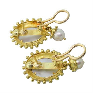 image of Elizabeth Locke Day and Night Intaglio Pearl Earrings