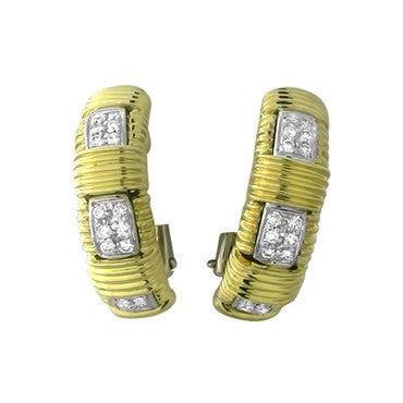 thumbnail image of Roberto Coin Appassionata 18K Gold Diamond Half Hoop Earrings