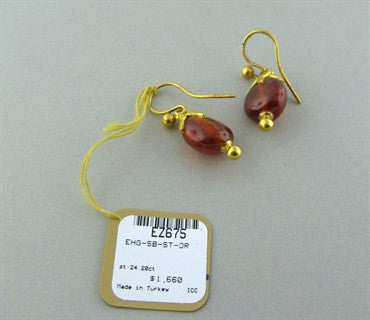 thumbnail image of New Gurhan 24K Gold 24.20ct Spessartite Star Cap Drop Earrings
