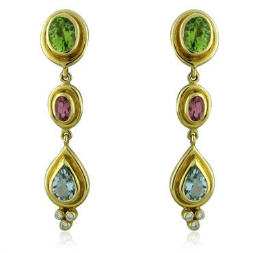 image of New Temple St Clair 18K Peridot Tourmaline Aquamarine Diamond Earrings