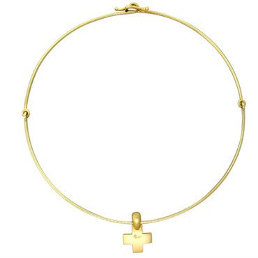 New Pomellato 18k Gold Cross Pendant Necklace