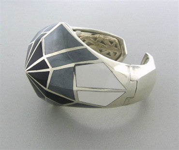 image of Stephen Webster Sterling Silver White Jade Hematite Onyx Cuff Bracelet