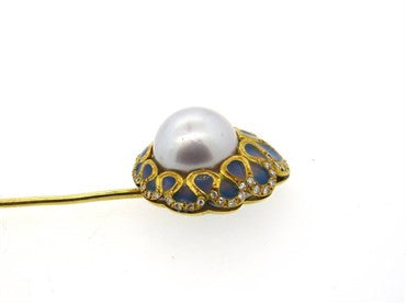 thumbnail image of Fine Plique a Jour Enamel South Sea Pearl Diamond 18K Gold Stick Pin