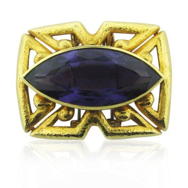 image of Estate Vintage David Webb 18k Gold Gemstone Brooch Pin