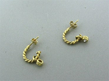 thumbnail image of Estate Tiffany & Co 18K Yellow Gold Diamond Drop Earrings