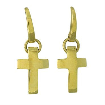 image of New Pomellato 18k Gold Cross Drop Earrings