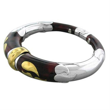 thumbnail image of Soho 18K Gold Red Enamel Bangle Bracelet