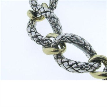 image of Scott Kay Sterling Silver 18k Gold Basketweave Necklace