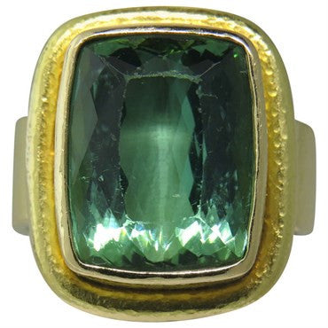 image of Elizabeth Locke Gold Green Tourmaline Ring