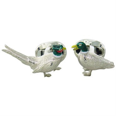 image of Deakin & Francis Sterling Silver Pheasant and Duck Enamel Cufflinks