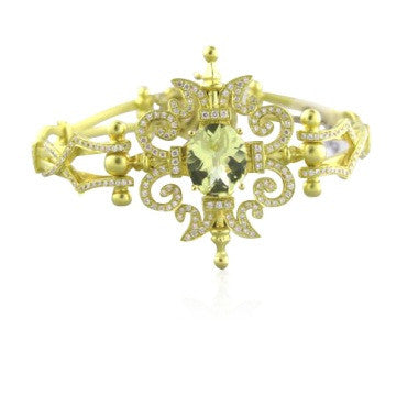 image of Morelli 18k Gold Garden Gate Citrine Diamond Bracelet