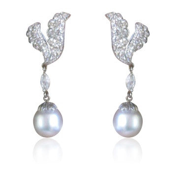 image of Estate Platinum South Sea Pearl 3.6ct Diamond Earrings