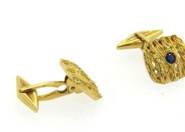 thumbnail image of 1970s Sapphire Textured 18k Gold Cufflinks