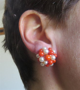 thumbnail image of Beautiful Red Coral Pearl 18k Gold Earrings