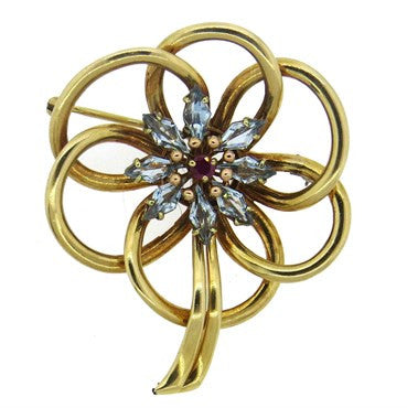 image of 1940s Retro Aquamarine Ruby 14k Gold Flower Brooch