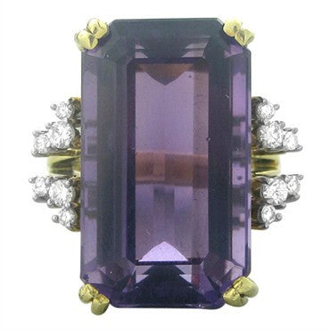 image of Estate H. Stern 18K Gold Platinum Diamond 30ct Amethyst Ring