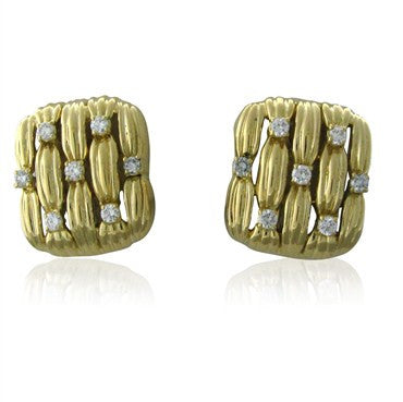 thumbnail image of Circa 1992 Tiffany & Co Classic 18K Yellow Gold Diamond Earrings