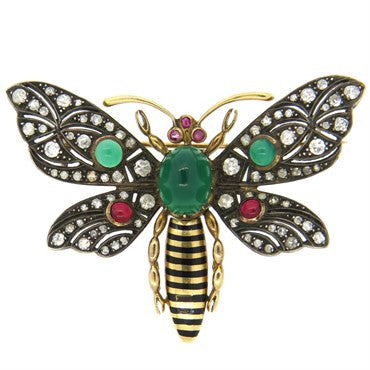 image of Chrysoprase Tourmaline Diamond Silver 18k Gold Butterfly Brooch