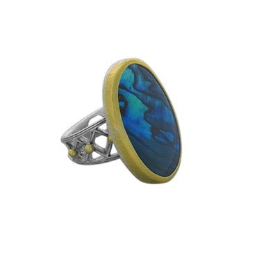 image of Gurhan 24k Gold Sterling Silver Paua Shell Ring