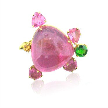 image of Tiffany & Co Gold Tourmaline Tsavorite Turtle Brooch