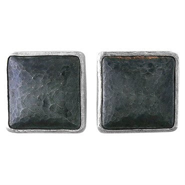 image of Gurhan Amulet Sterling Blackened Silver Hammered Square Earrings