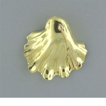 image of Estate Tiffany & Co 18k Gold Seashell Brooch Pin