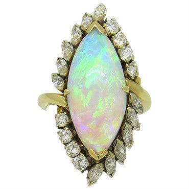 image of Impressive Opal Diamond Gold Cocktail Ring
