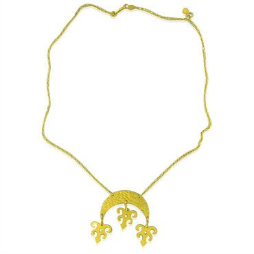 image of New Gurhan 24k Gold Crescent Drop Pendant Necklace