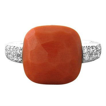 image of New Pomellato Capri 18k Gold Diamond Coral Ring