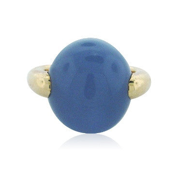 image of Estate Pomellato Luna 18k Gold Chalcedony Ring