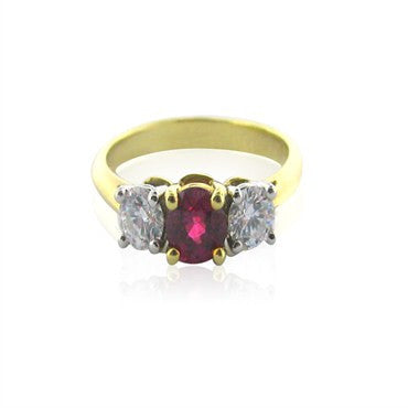 image of Tiffany & Co Gold Platinum Diamond Ruby Ring