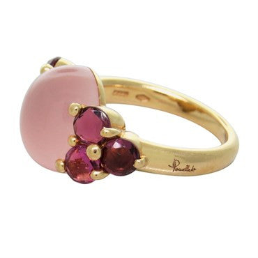 thumbnail image of New Pomellato Luna 18k Gold Pink Quartz Red Tourmaline Ring