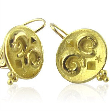 image of New Temple St. Claire 18k Gold Zodiac Aries Earrings