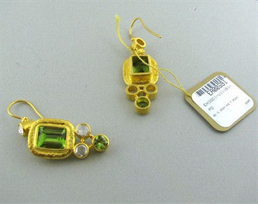 thumbnail image of New Gurhan Periwinkle 24K Gold Peridot Diamond Earrings