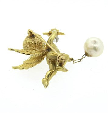 image of Pearl Emerald Diamond 14k Gold Cherub Brooch Pin