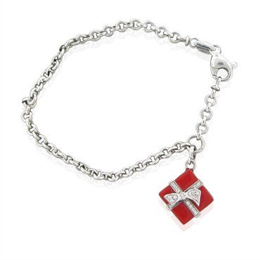 image of Roberto Coin 18K White Gold Red Enamel Diamond Present Charm Bracelet