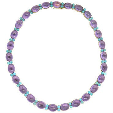 image of 1960s Turquoise Amethyst Gold Necklace