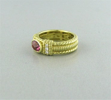 thumbnail image of Estate Judith Ripka 18K Yellow Gold Gemstone Diamond Ring