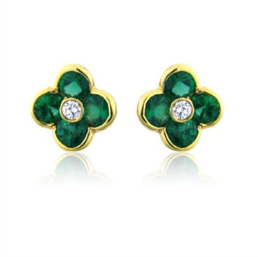 image of New Gumuchian 18K Diamond & Emerald Petite Fleur Earrings