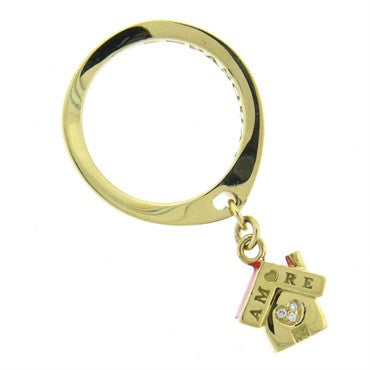 image of Pasquale Bruni Amore Enamel Diamond 18k Gold Charm Ring
