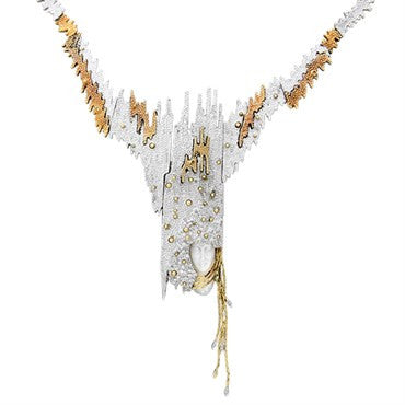 image of Erte Sophistication 14k Gold Sterling Diamond MOP Brooch Necklace